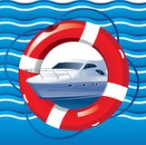 Nautical card with yacht, lifeline and waves vector illustration