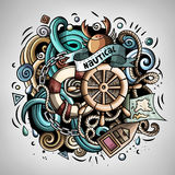 Nautical cartoon vector doodle illustration Royalty Free Stock Photography
