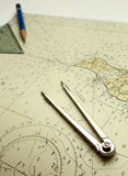 Nautical Chart And Dividers Royalty Free Stock Image