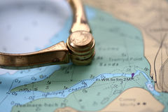 Nautical Chart with Dividers. Nautical Chart showing channel of safe water with Dividers lay nearby stock photo