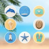 nautical collage with sea life style objects over blue and white wooden background. Stock Photos