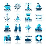 Nautical color silhouette with reflection icon set. Marine flat design vector illustration symbol collection. Navigation simple pack. Captain, navy, web, logo vector illustration