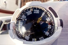 Nautical compass. Close up of nautical compass on yacht Stock Image