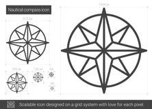 Nautical compass line icon. Royalty Free Stock Photo