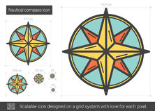 Nautical compass line icon. Royalty Free Stock Photography