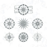 Nautical compass. Marine wind rose for maps. Vintage style vector illustrations Stock Photography