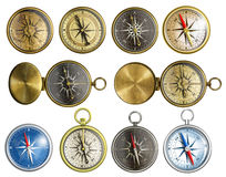 Nautical compass set isolated Stock Photos