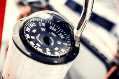 Nautical compass. On a ship Royalty Free Stock Photo