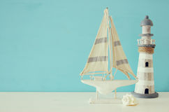 Nautical concept with sea life style objects on wooden table. Stock Image