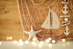Nautical concept with sea life style objects on wooden table Royalty Free Stock Images