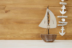 Nautical concept with sea life style objects on wooden table. Stock Photography