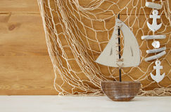 Nautical concept with sea life style objects on wooden table. Royalty Free Stock Image