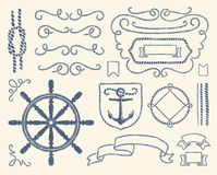 Nautical decoration set stock illustration