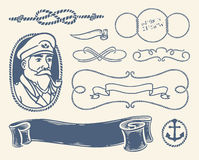Nautical decoration set over white background. royalty free illustration
