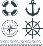 Nautical decoration vector. Illustration set. Anchor - lifebuoy - ship wheel - compass - silhouettes Royalty Free Stock Photos