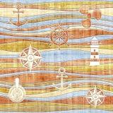 Nautical decoration - waves decoration - seamless background Stock Images