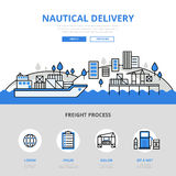 Nautical delivery water transport banner flat line art vector Royalty Free Stock Images