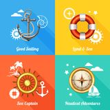 Nautical design concept 4 flat icons Stock Image