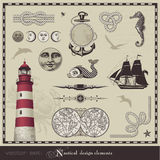 Nautical design elements. Set of retro maritime illustrations Stock Images