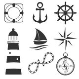 Nautical design elements anchor, starfish, wheel, boat, fish, rope, bell, lifebuoy, lighthouse, flag, compass Royalty Free Stock Image