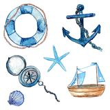 Nautical design elements hand drawn in watercolor. Life buoy with rope, compass, anchor, wooden ship, star fish and shell. Art vec