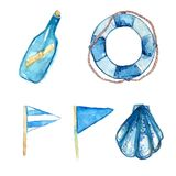 Nautical design elements hand painted in watercolor. Bottle with messsage, life buoy, blue signal flags and shell. Artistic vector Stock Photography