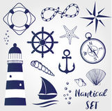 Nautical design elements lighthouse, seashell, coral, starfihh, rope, anchor, steering wheel, life buoy, the wind rose, compass, s Royalty Free Stock Images