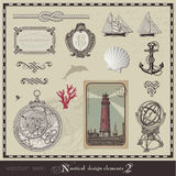 Nautical design elements (set 2). Collection of vintage nautical design elements and page decoration Stock Photos