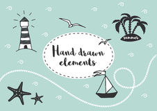 Nautical Design Elements. Set of vector hand drawn illustration in marine style. Stock Image
