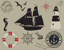 Nautical Design Elements, Silhouettes Royalty Free Stock Image
