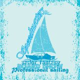 Nautical design, sailor , drawing t-shirt. Printing badge, applique label, fully editable image royalty free illustration