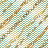 Nautical diagonal pattern on waves background. Stock Photography