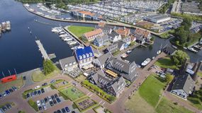 The nautical district in Huizen, Netherlands. Aerial view on the nautical district in Huizen, Netherlands Stock Photography
