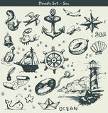 Nautical doodle elements Stock Photography