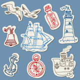Nautical doodles on Torn Paper. Hand drawn collection in Stock Images