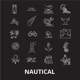 Nautical editable line icons vector set on black background. Nautical white outline illustrations, signs, symbols vector illustration