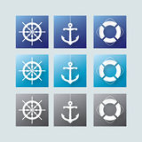 Nautical elements. Set of nautical elements on blue, cyan and grey backround royalty free illustration