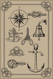 Nautical elements. On vintage background. drawing woodcut method Stock Illustration