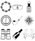 Nautical elements  4  in black and white stickers style Stock Image