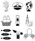 Nautical elements 3   in black and white stickers style Royalty Free Stock Photo