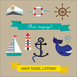 Nautical elements for design with texts. Text in french Bon voyage means have a good trip Stock Photos