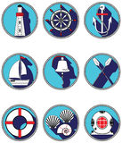 Nautical elements I icons in knotted circle including  boat bell, boat, oars, rudder, vintage diving mask, life ring, light house, Stock Photos