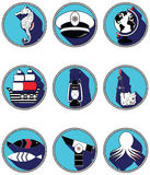 Nautical elements III icons in knotted circle Royalty Free Stock Photography