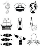 Nautical elements 2. Including   seahorse, octopus, captains hat,  ship, drawing compass, treasure map, nautical style lamp, fish, globe, beach telescope Royalty Free Stock Photography