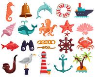 Nautical Elements And Sea Life Collection stock illustration