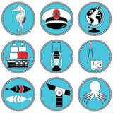 Nautical elements type 3 icons in knotted circle including seahorse, octopus, captains hat,  ship, drawing compass, treasure map Royalty Free Stock Photography