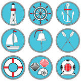Nautical elements type 1 icons set in knotted circle including boat bell, boat, oars, rudder, vintage diving mask, life ring. Light house, sea shells and royalty free illustration