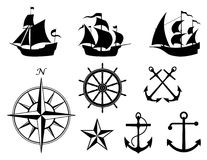 Nautical Elements Vector. Several nautical symbols and elements created in Adobe Illustrator.  Vector file available Stock Images