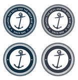 Nautical emblem with anchor. Editable vector set Royalty Free Stock Images