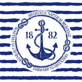 Nautical emblem with anchor. Blue white nautical emblem with anchor on a striped background Stock Images